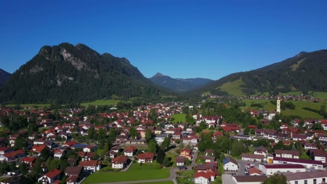 aerial view of the town of pfronten, allgau alps, allgau, swabia, bavaria, germany, europe - pfronten stock videos and b-roll footage