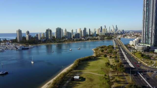aerial view of the town of surfers paradise . - queensland stock videos & royalty-free footage