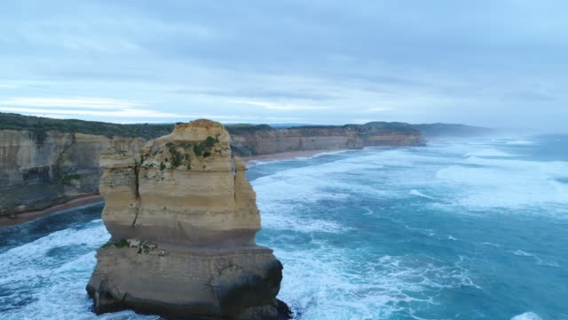 aerial view of the twelve apostles in australia - port campbell national park stock videos & royalty-free footage
