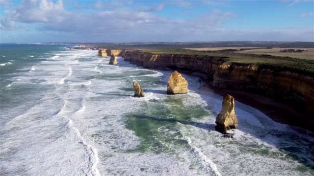 aerial view of the twelve apostles - port campbell national park stock videos & royalty-free footage