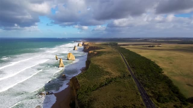 aerial view of the twelve apostles - great ocean road stock videos & royalty-free footage