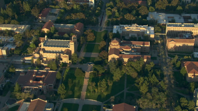 vídeos y material grabado en eventos de stock de aerial view of the university of california los angeles in the westwood neighborhood. - westwood neighborhood los angeles