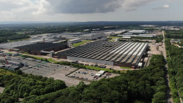 aerial view of the vauxhall car plant in ellesmere port - car plant stock videos & royalty-free footage