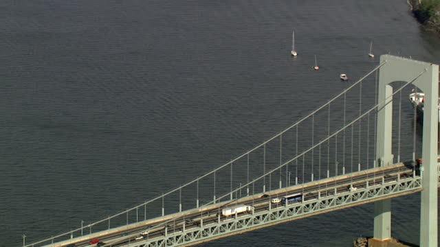 aerial view of the verrazano bridge, new york, usa - tall high stock videos & royalty-free footage