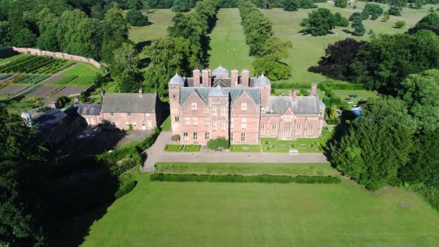 aerial view of the waterfront side of kiplin hall - 17th century stock videos & royalty-free footage
