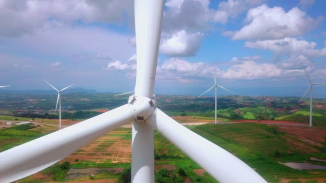 aerial view of the wind farm - alternative energy stock videos & royalty-free footage