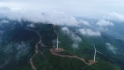 Aerial View Of The Windmill In Fog