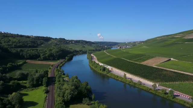 aerial view of the wine village ahn, river moselle near ahn, moselle valley, canton of grevenmacher, luxembourg, border river between germany and luxembourg - german culture stock videos & royalty-free footage
