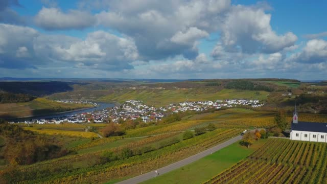 aerial view of the wine village nittel, obermosel, moselle river, rhineland-palatinate, germany - rhineland palatinate stock videos & royalty-free footage
