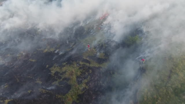 aerial view of the winter hill moorland fire and firefighters attempts to extinguish the flames - soil stock videos & royalty-free footage