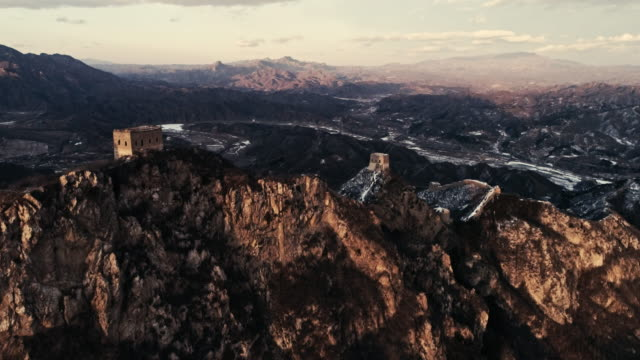 Aerial view of the Wohushan Great Wall on February 23 2017 in Beijing China