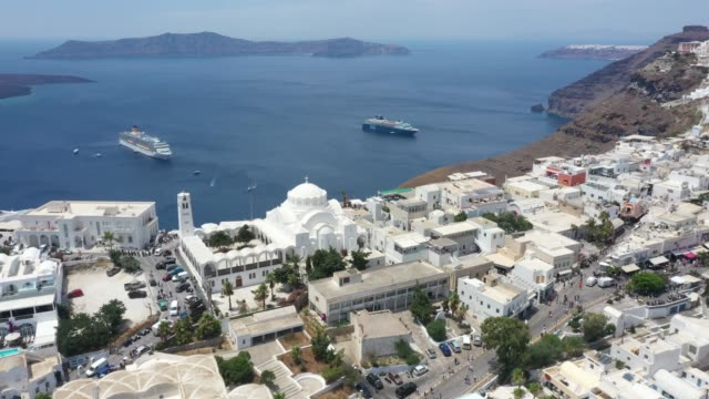 aerial view of thera, santorini, greece - oia santorini stock videos & royalty-free footage