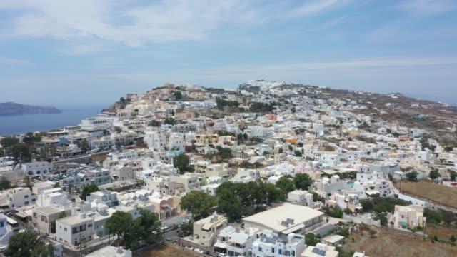 aerial view of thera, santorini, greece - oia santorini stock videos & royalty-free footage