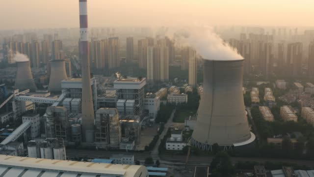 aerial view of thermal power plant - industry stock videos & royalty-free footage