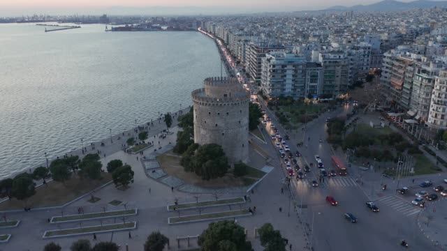 aerial view of thessaloniki and the white tower (lefkos pyrgos) at afternoon and dusk - thessalonika stock videos & royalty-free footage
