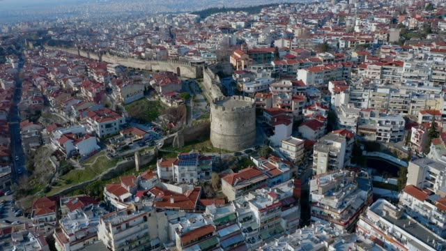 aerial view of thessaloniki, , the fortified walls and the old town - thessalonika stock videos & royalty-free footage