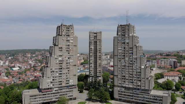 aerial view of three tall buildings - belgrade serbia stock videos and b-roll footage