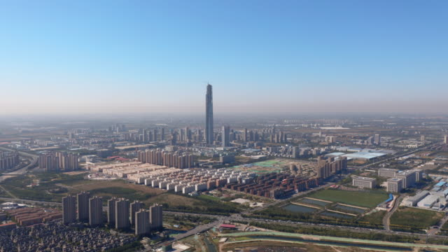 stockvideo's en b-roll-footage met aerial view of tianjin cityscape-skyscrapper under construction - tianjin