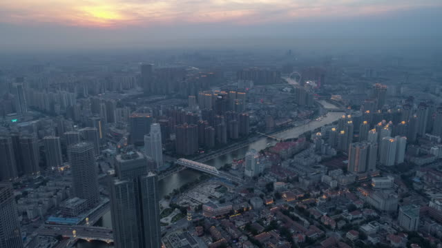 Aerial view of Tianjin Haihe River cityscape