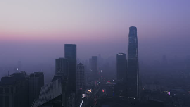aerial view of tianjin in bad weather - liyao xie stock videos & royalty-free footage