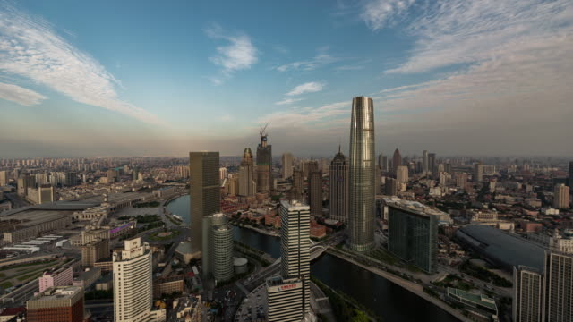 T/L Aerial View of Tianjin Skyline