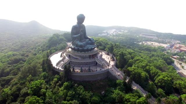aerial view of tian-tan buddha(big buddha) - tian tan buddha stock videos and b-roll footage