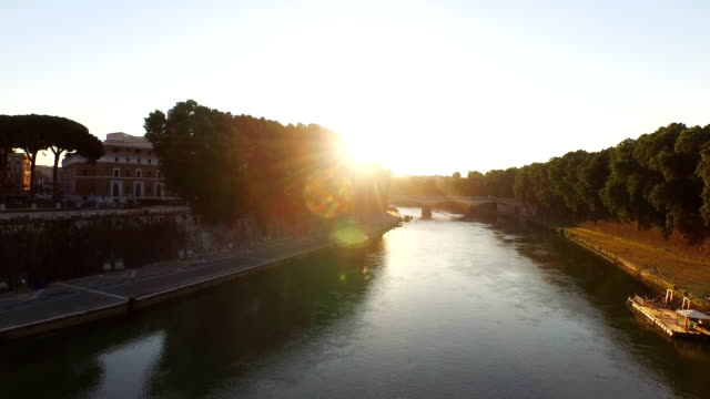 aerial view of tiber river and vatican city at morning - ponte video stock e b–roll
