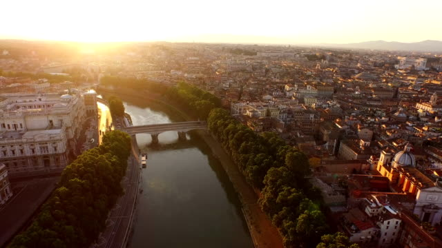 aerial view of tiber river and vatican city at morning - state of the vatican city stock videos & royalty-free footage