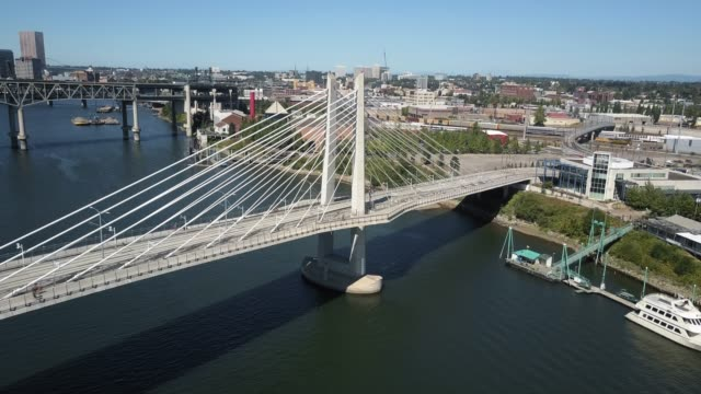 Aerial View of Tilikum Crossing and Portland Waterfront