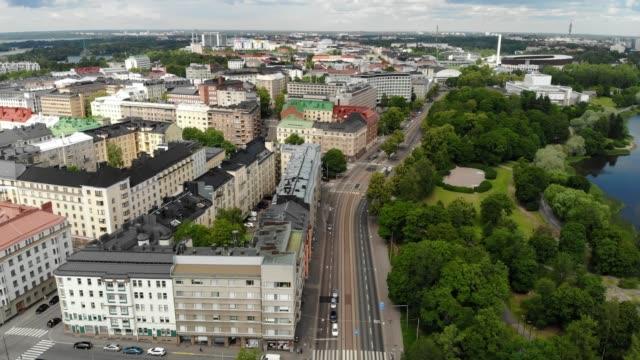 stockvideo's en b-roll-footage met luchtfoto van de wijk töölö in helsinki, finland - finland