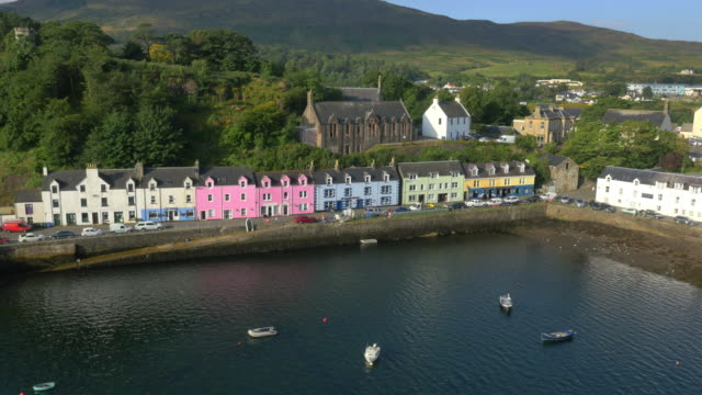 Aerial view of Tobermory harbour and town Highlands