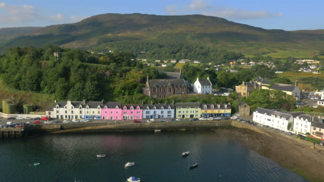 aerial view of tobermory harbour and town highlands - scottish culture stock videos & royalty-free footage