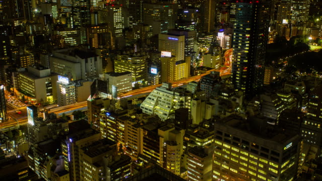 Vista aérea de Tóquio na noite, Time lapse