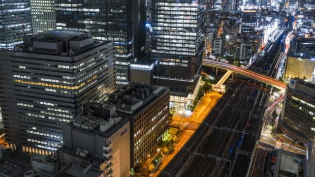 4k t/l ws ha 夜の東京航空写真 - railway track点の映像素材/bロール