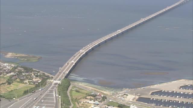 Aerial view of Tokyo Bay Aqua-Line, Umihotaru and the Tower of Wind.