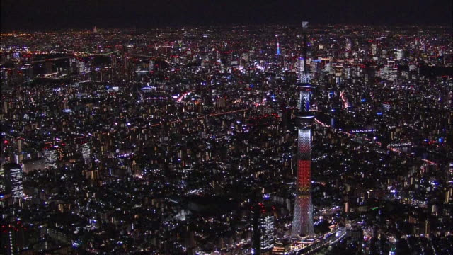 aerial view of tokyo, christmas illumination, tokyo skytree. - スカイツリー点の映像素材/bロール