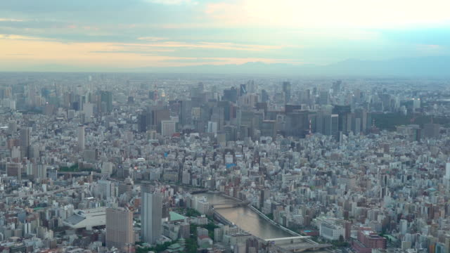 aerial view of tokyo city at sunset - morning点の映像素材/bロール