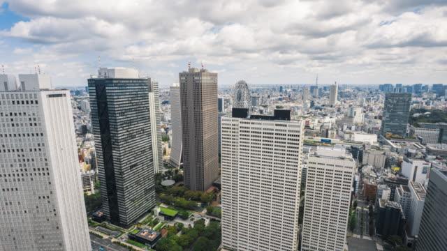 4k t/l ws ha zo vista aerea della città di tokyo - quartiere finanziario video stock e b–roll