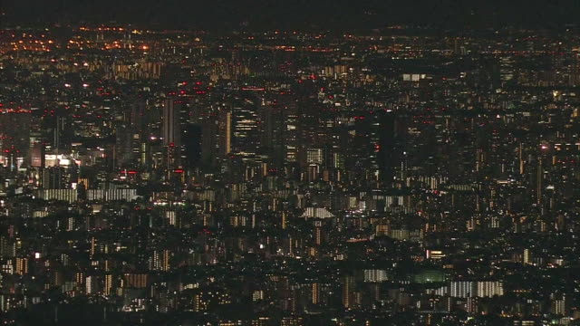 vídeos de stock e filmes b-roll de aerial view of tokyo, night view, shinjuku. - bairro de shinjuku