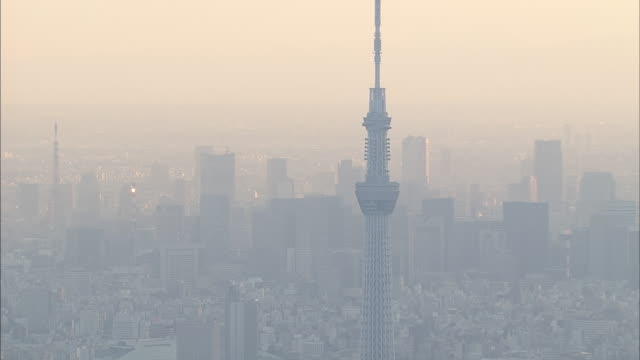 aerial view of tokyo, sunset, skytree. - wide angle stock videos & royalty-free footage