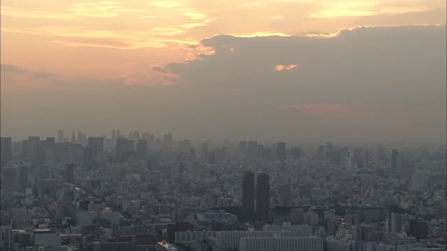 Aerial view of Tokyo, sunset.