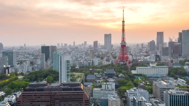 aerial view of tokyo tower and tokyo skyline cityscape at sunset, japan - japanese culture stock videos & royalty-free footage