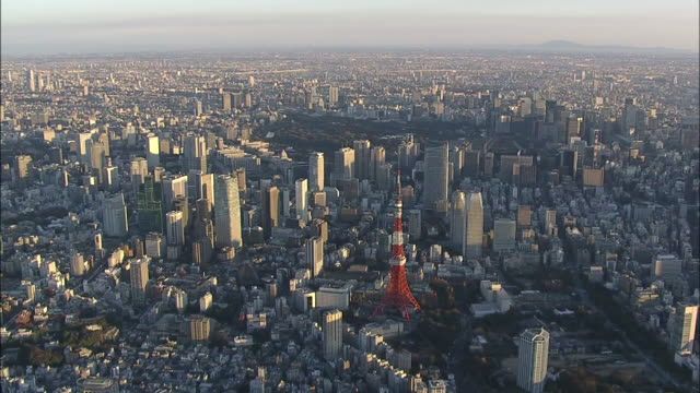 aerial view of tokyo with tokyo tower and tokyo skytree at sunrise. - 広大点の映像素材/bロール