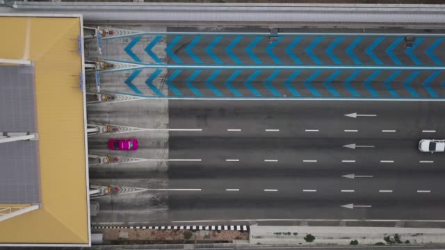 aerial view of toll way - land vehicle stock videos & royalty-free footage