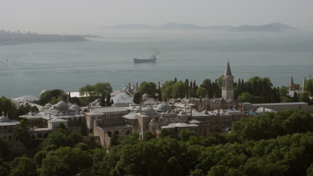 aerial view of topkapi palace in istanbul - eminonu district stock videos and b-roll footage