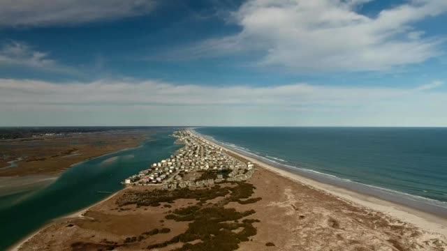 aerial view of topsail beach in north carolina - carolina beach stock videos & royalty-free footage