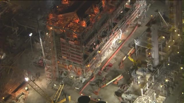 ktla aerial view of torrance exxonmobile refinery at night - torrance stock videos & royalty-free footage