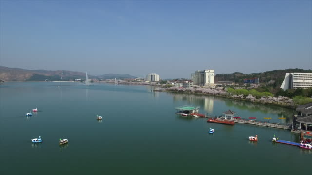 aerial view of tourboats in a lake and cherry blossom - gyeongju stock videos and b-roll footage