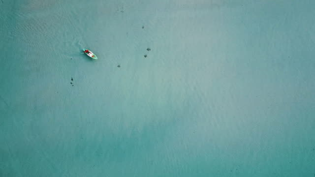 aerial view of tourist kayaking on in the sea. thailand. - trat province stock videos and b-roll footage