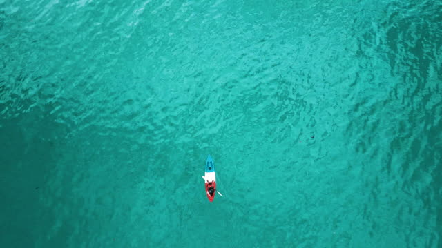 aerial view of tourist kayaking on in the sea. thailand. - andare in canoa video stock e b–roll